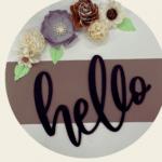 Welcome Sign Door Hanger w/wood flowers